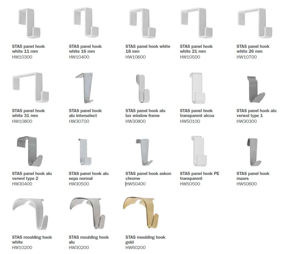 STAS partition wall hooks - STAS panel hooks - STAS moulding hooks
