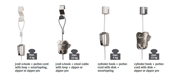 J-rail hooks and cords
