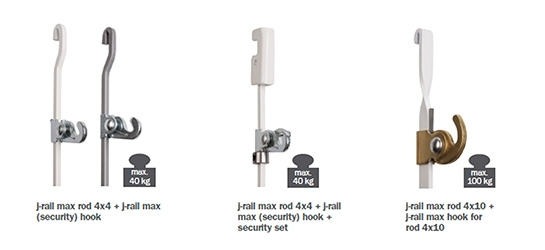 J-rail max hooks and cords
