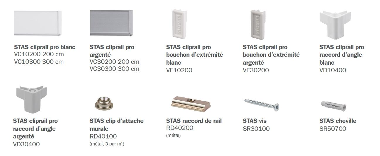 STAS cliprail pro éléments