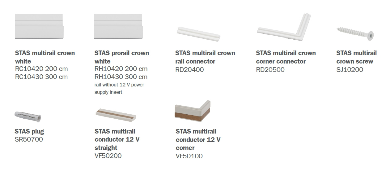 STAS multirail crown parts