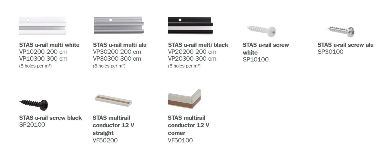 STAS u-rail multi parts